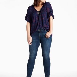 Lucky Brand Floral Flutter Lace Sleeve Trim Top
